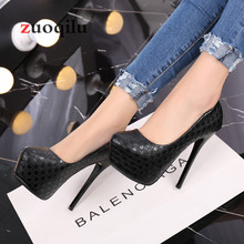 pumps women shoes black Woven lattice platform high heels
