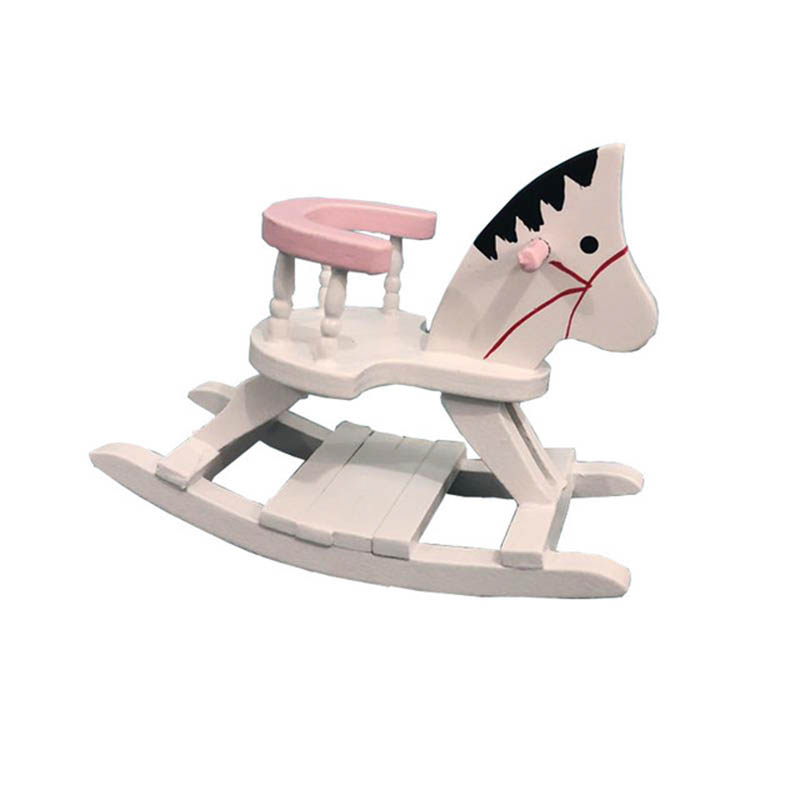 1/12 Dollhouse Miniature Accessories Mini Wooden Horse Chair Simulation Furniture  Toys For Doll House Decoration
