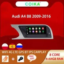 "8 Core 8.8 ""Auto Kopf Einheit Für Audi A4 B8 2009 2016 Android 10,0 System WIFI Google IPS touch Stereo BT Carplay 4G LTE 4 + 64G GPS"