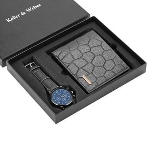 Image 2 - Men Watches Quartz Leather Minimalist Wrist Watch Card Holder Wallet Watch Men Gift Set for Dad Husband Boy Friend Reloj Hombre