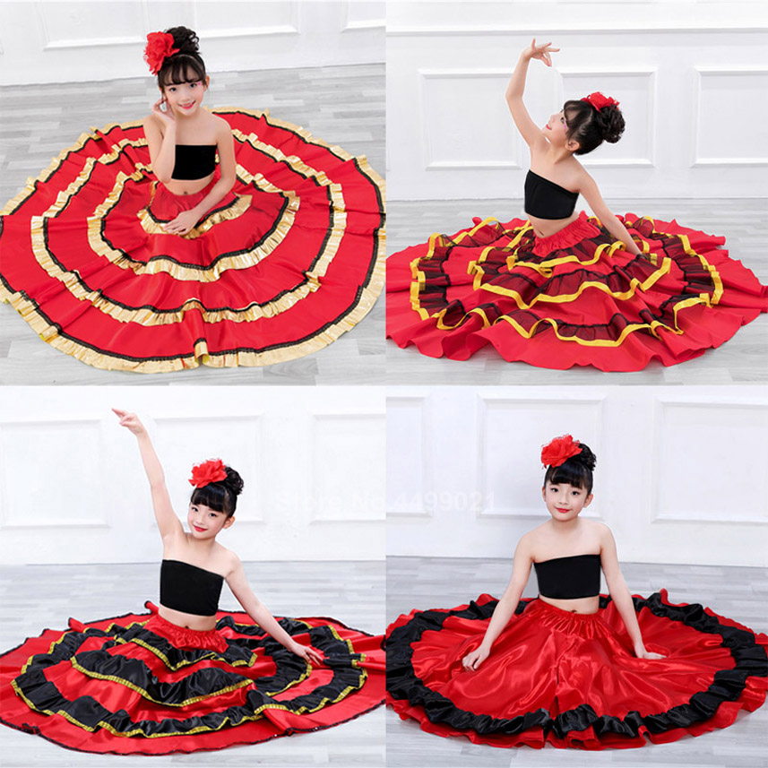 Teenager Gypsy Girls Sopanish Flamenco Skirt National Striped Belly Dancing Costume Red Bullfight Festival Clothing Dress