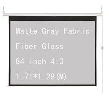 Thinyou 84 дюймов 4:3 электрический моторизованный экран проектора матовая серая ткань стекловолокно настенный потолок пульт дистанционного управления вверх вниз