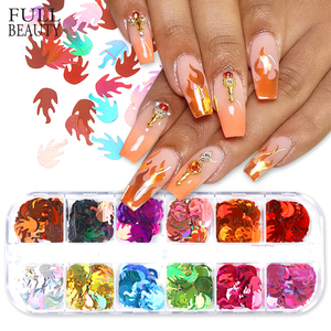 Holographic Fire Winter Nail Art Decoration Sticker Butterfly Circle Flakes 3D Sparkling Nail Sequins DIY Manicure Sets CH1617