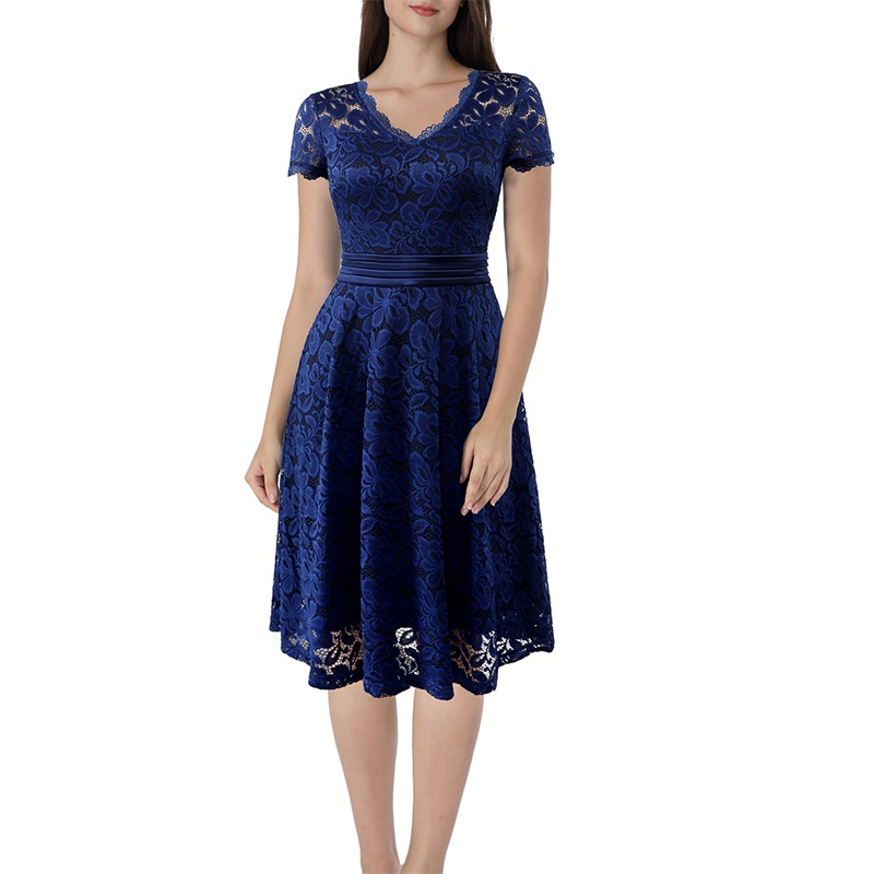 A Byer Womens Lace Fit and Flare Dress