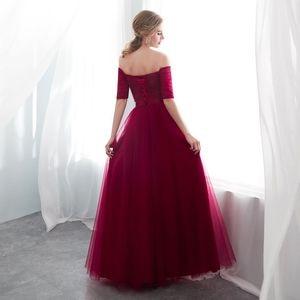 Image 4 - PLUSขนาดยาวผู้หญิงชุดราตรี 2020 A Lineไหล่ปาร์ตี้ชุดTulle ElegantชุดพิเศษRobe De soiree
