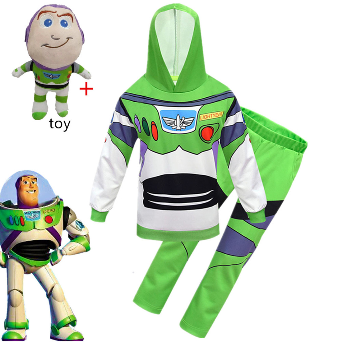 New Disney Anime Toy Story 4 BUZZ LIGHTYEAR Cosplay Coat+trousers Boys Set For Children Halloween Party Costumes Birthday Gift