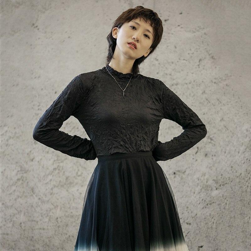 [EAM] Women Fold Split Joint Brief Temperament T-shirt New Stand Collar Long Sleeve  Fashion Tide  Spring Autumn 2020 1H720 4