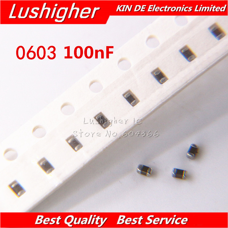 1.6mm×0.8mm 1608 100PCS 100nF 104K ±10/% X7R SMD Small Capacitor MLCC 0603