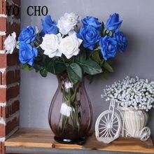 1Pc Künstliche Blumen Silk Rose Blume Zweig Gefälschte Rose Blau Weiß Flore für Hochzeit Hause Schreibtisch Blumentopf Dekorative Seide blume