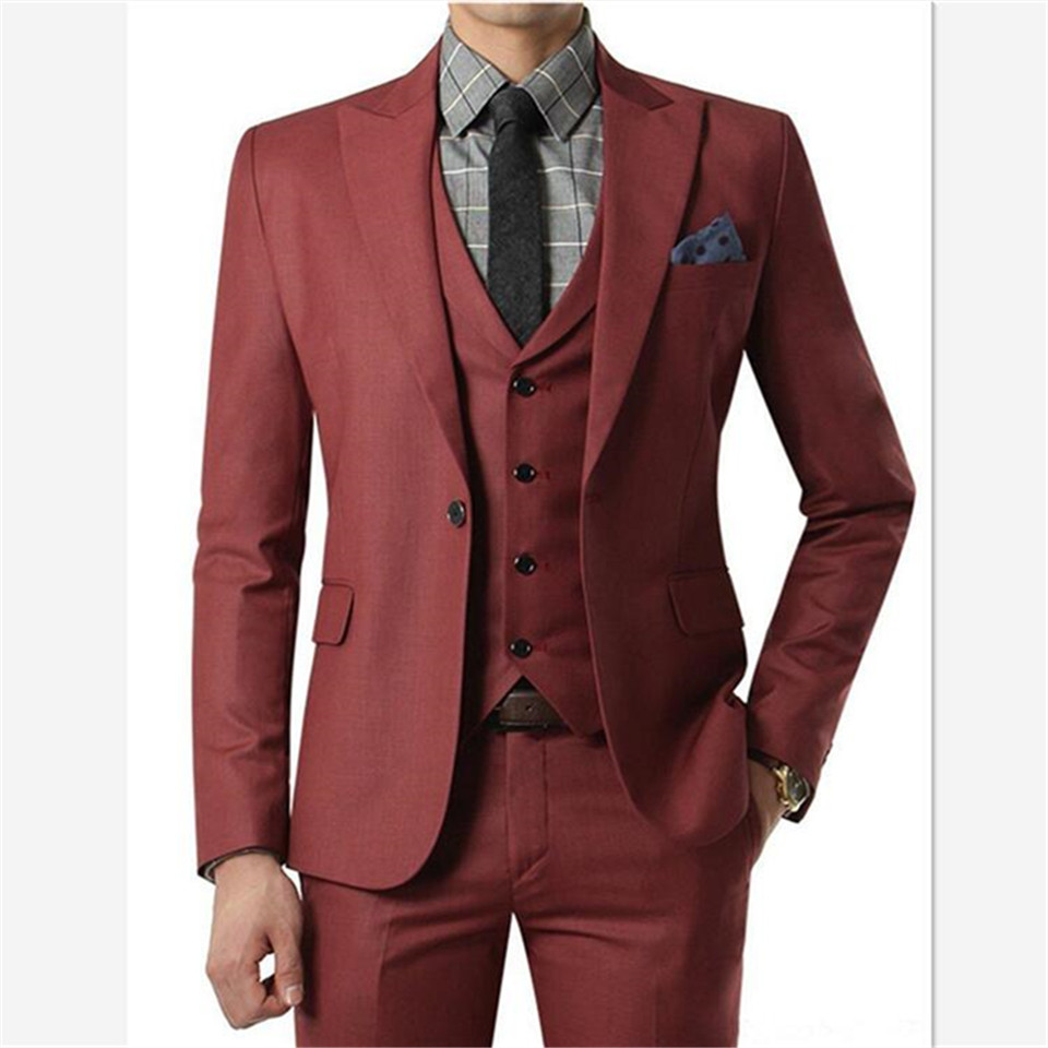 New Classic Men's Suit Smolking Noivo Terno Slim Fit Easculino Evening Suits For Men Wine Red Wedding With Tuxedos Grooms One Bu