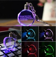Customized Fashion Laser Engraving LOGO Crystal Keychains Octagonal Shaped LED Key Chain Key Ring for Wedding Xmas Birthday Gift