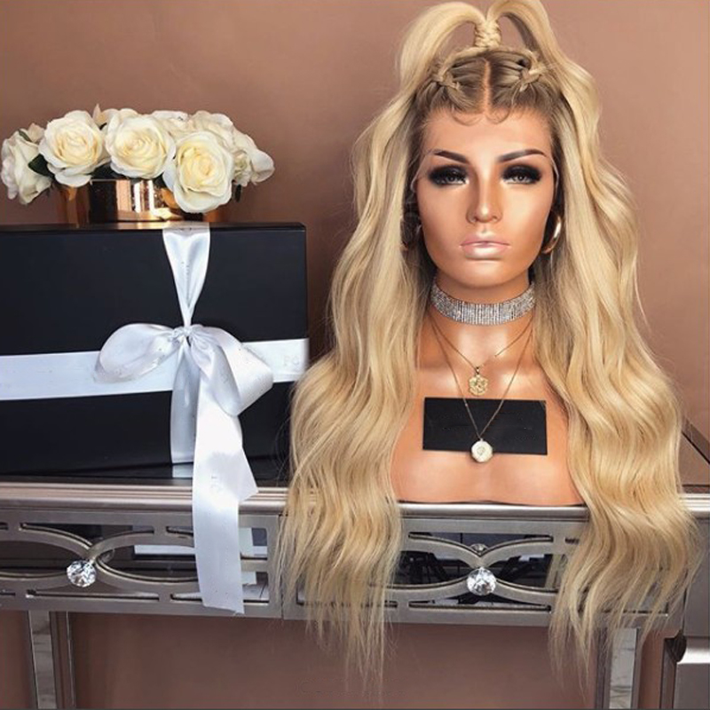 Hot Fashion Dark Roots Ombre Blonde Long Body Wave Hair Glueless Lace Front Wigs Heat Resistant Synthetic Hair Natural Hairline