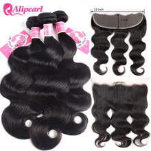 Tissage en lot malaisien naturel Remy – Alipearl, cheveux humains, Lace Frontal Closure, Body Wave, noir naturel, 3 lots