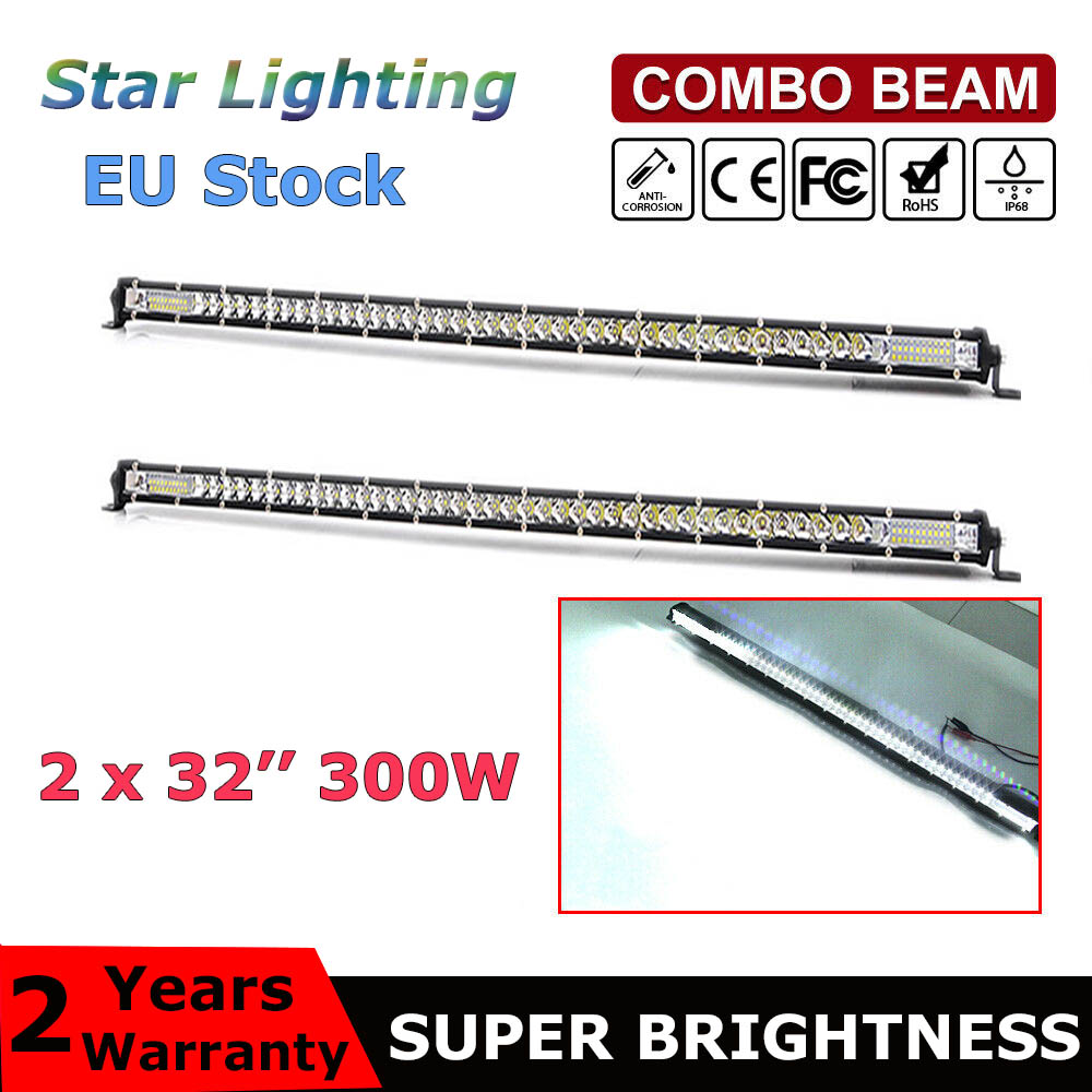 "2pcs Super Slim LED Light Bar Single Row 32"" 300w Driving Lamp 12V 24V For 4X4 4WD ATV SUV Car Off Road LED Work Light"