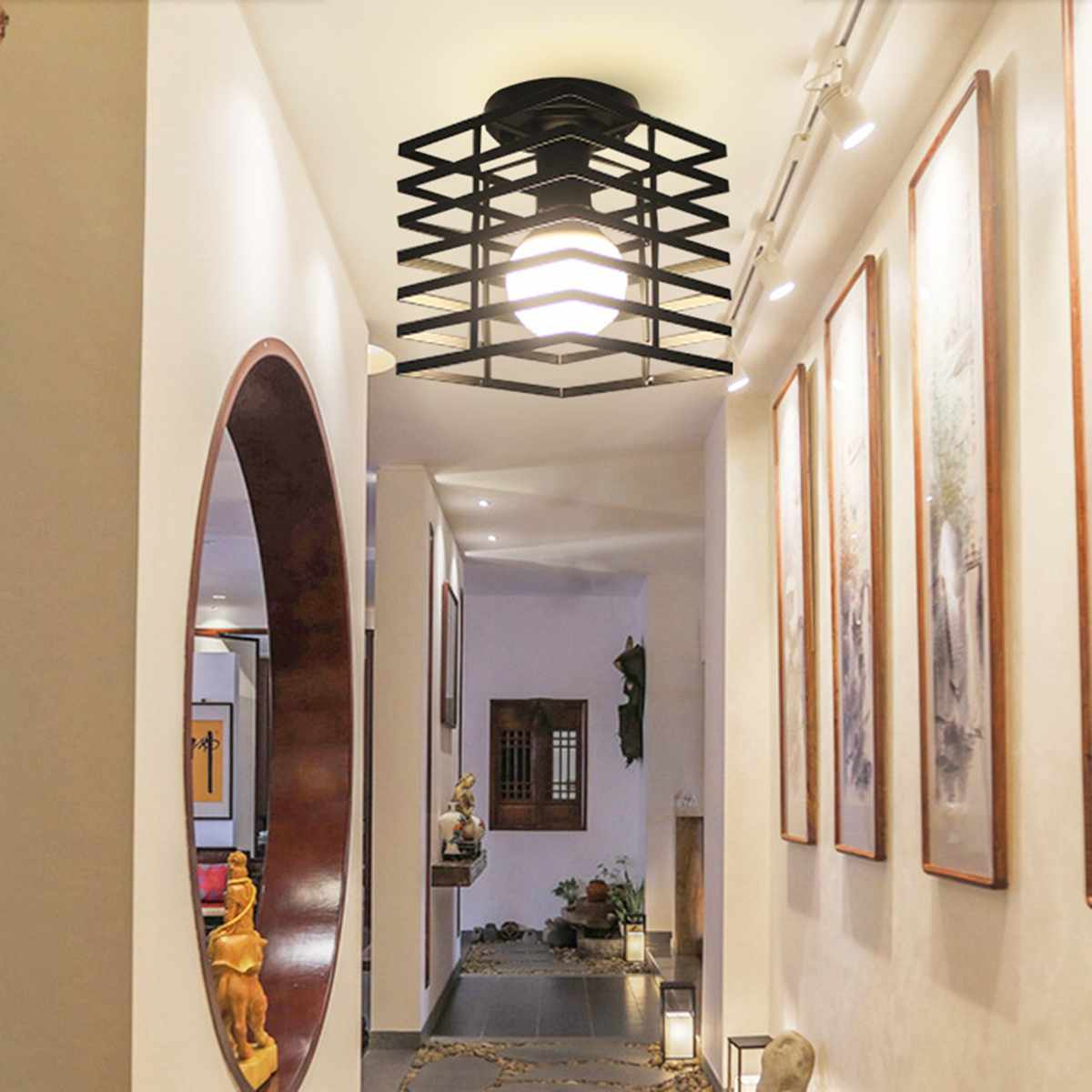 Modern Corridor LED Ceiling Light Pathway Aisle Ceiling Mounted Lamp Fixture Living Room Bedroom Indoor Lighting Decoration E27