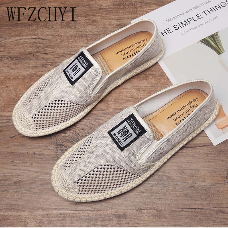 New Men Breathable Flat Shoes Espadrilles Linen Woven Sleeves Casual Canvas Shoes Classic Driving Straw Mesh Lazy Shoes Sneakers