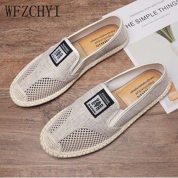 Nuevo hombres transpirables alpargatas de zapatos planos lino tejido mangas casual zapatos de lona clásicos de conducción de paja de malla zapatos perezosos Zapatos Zapatillas de deporte