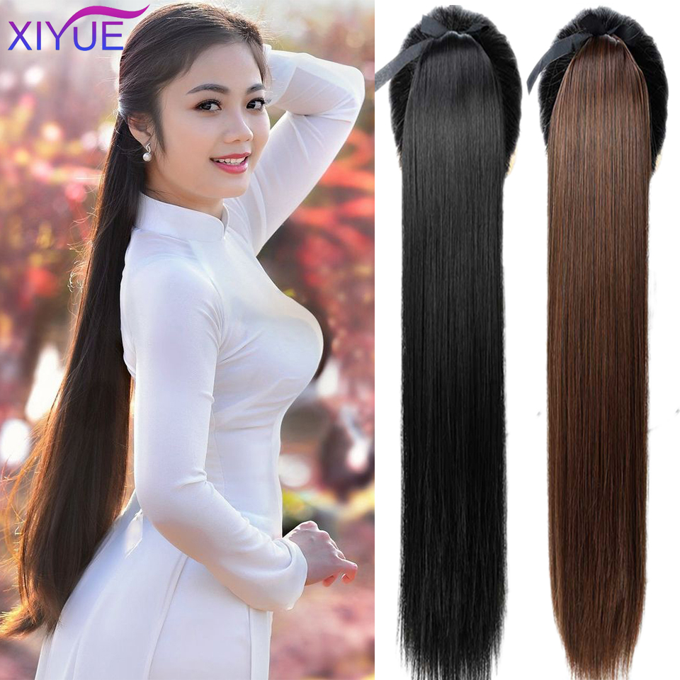 Super Long Straight Clip In Tail Synthetic Hair Ponytail Hairpiece With Hairpins Synthetic Pony Tail Hair Extensions