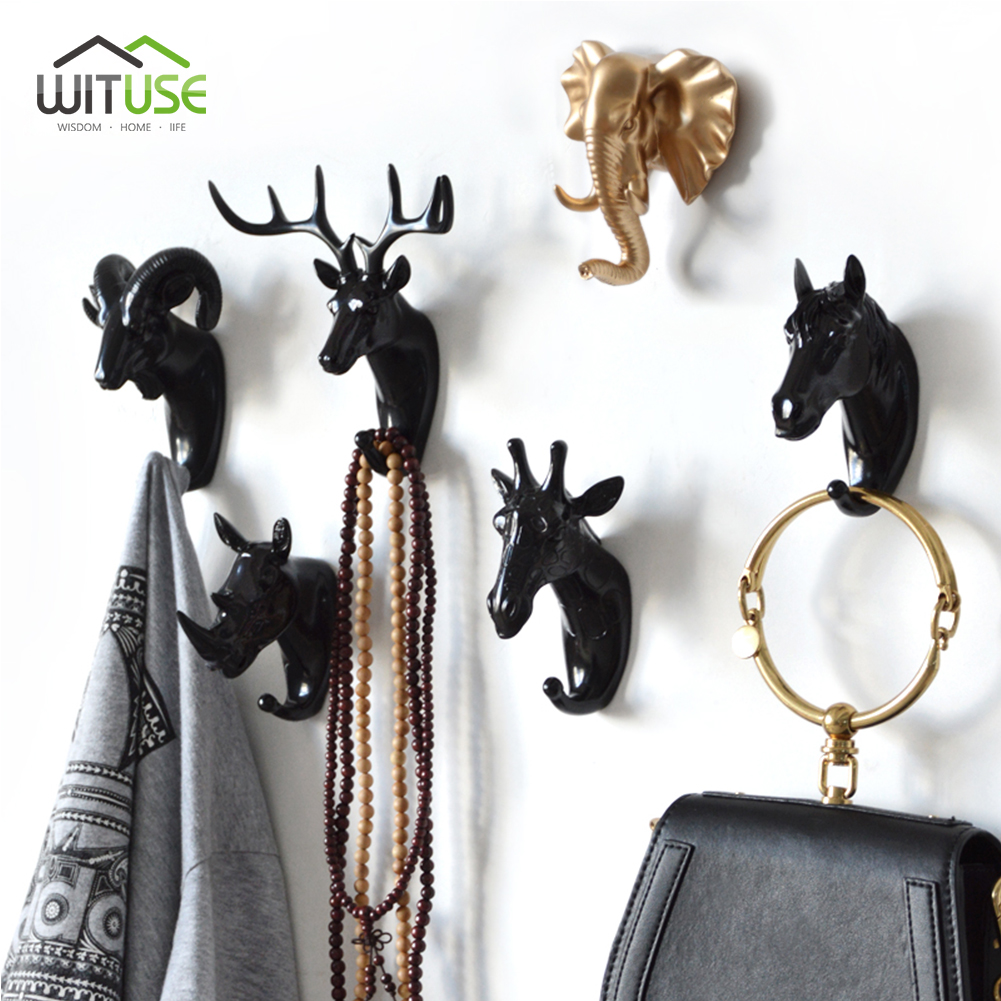 Novel 3D Wall Hook Keys Rack Deer Animal Head Antlers Resin Home Hanging Clothes Hat Scarf Hangers Home Livingroom Decoration