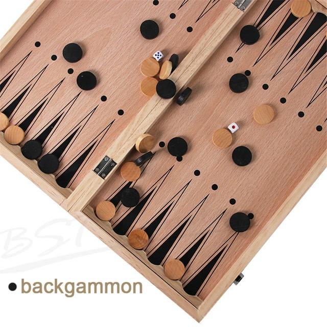 Jeu d'échec et de dames 3 en 1, Backgammon en bois, pour enfants et adultes 4