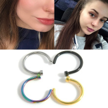 Stainless Steel Septum Nostril Nose Hoop Stud Ring Clip On N