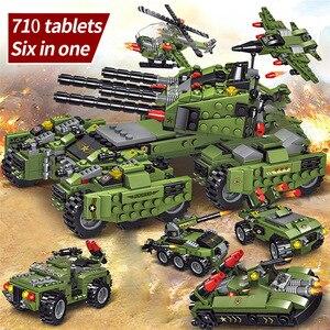 Image 5 - 2020 710PCS Tank Building Blocks Vehicle Aircraft Boy Toys Figures Educational Blocks Military Compatible LegoINGlys Bricks