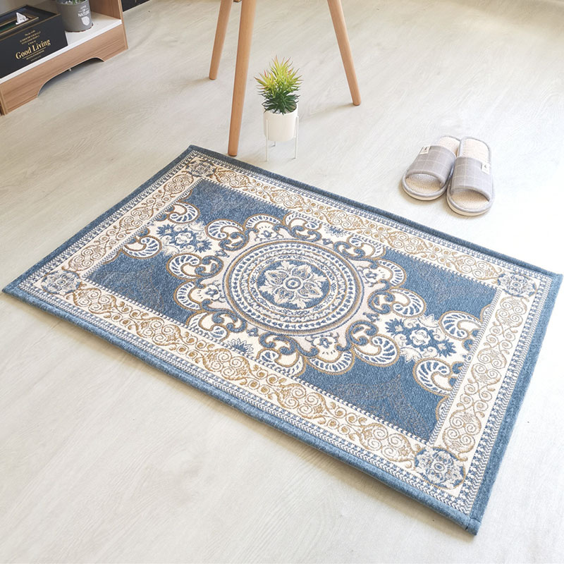 Blue Jacquard Living Room Bedroom Carpets Traditional Chinese-Style Soft Thick Kid Room Area Rugs Home Entrance Porch Floor Mats