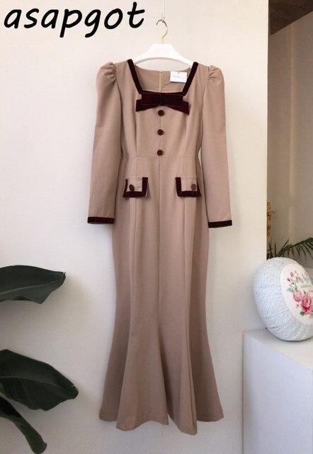 Chic Elegant Autumn Bow Hit Color Button Slim Fit Waist Patchwork Square Neck Mermaid Dress Fashion Vintage Vestido De Mujer 6