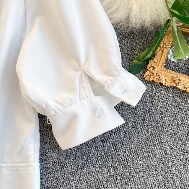 Gagaok 2020 Streetwear Women Blouse Spring Autumn New Solid O-Neck Puff Sleeve Short Slim Simple Chic Wild Female Fashion Shirts 5