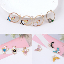 6pcs diy handmade jewelry accessories roaming mind, mr. alice rabbit butterfly earrings alloy drip small pendant