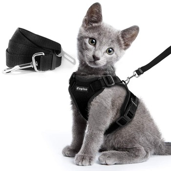 Escape Proof Cat Vest Harness and Car Seat Belt Adapter Adjustable Reflective Harness Soft Mesh Vest Harness for Kitten Puppy 1