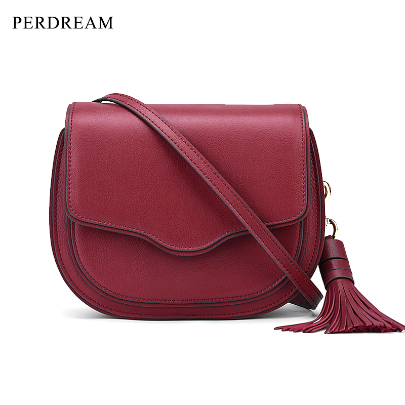 Leather handbags new top layer cowhide tassels European and American fashion saddle bags women crossbody shoulder bags