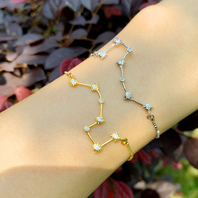 Gold Filled Constellation Bracelets For Women Crystal Big Dipper Charm Bracelet Cubic Zirconia Fashion Jewelry Wholesale brtc26 big dipper s10rg page 1