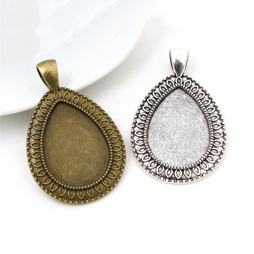 10pcs 18x25mm Inner Size Bronze & Antique Silver Plated Drop Style Cameo Cabochon Base Setting Charms Pendant Necklace Findings
