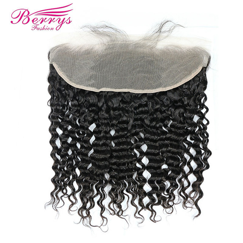 Hair-Extensions Lace-Frontal Deep-Wave Berrys Fashion TRANSPARENT Virgin Baby-Hair Natural