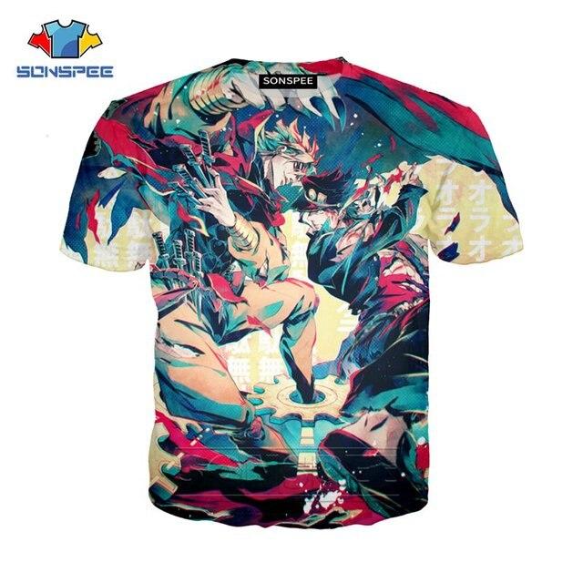 SONSPEE Summer Men Women Kujo Jotaro Sweatshirt 3D Print Anime JoJo Bizarre Adventure T Shirt Short Sleeve Top Pullover SY201-01 4