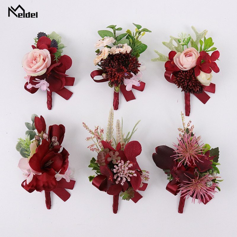 Meldel Red Flower Boutonnieres For Groomsmen Bridesmaid Wrist Corsages Flower Wedding Groom Boutonniere Red Silk Rose Buttonhole