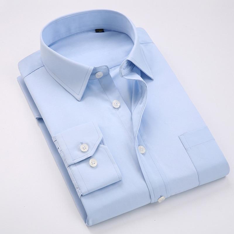 Comfortable  business  men's solid plain dress shirts long sleeve square collar regular fit male social shirt 4