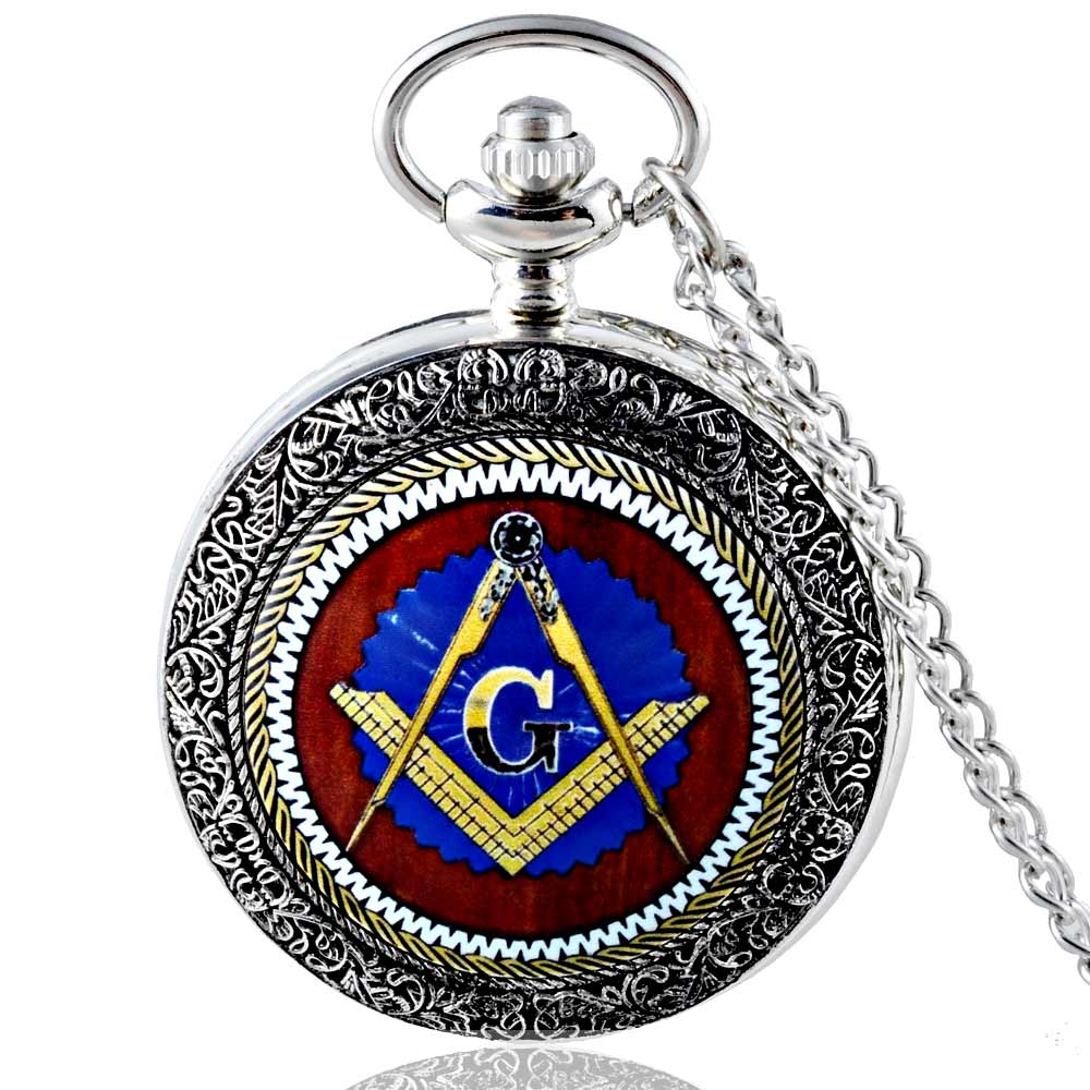 New Arrivals Silver Masonic Quartz Pocket Watch Classic Men Women Pendant Necklace Gift Clock