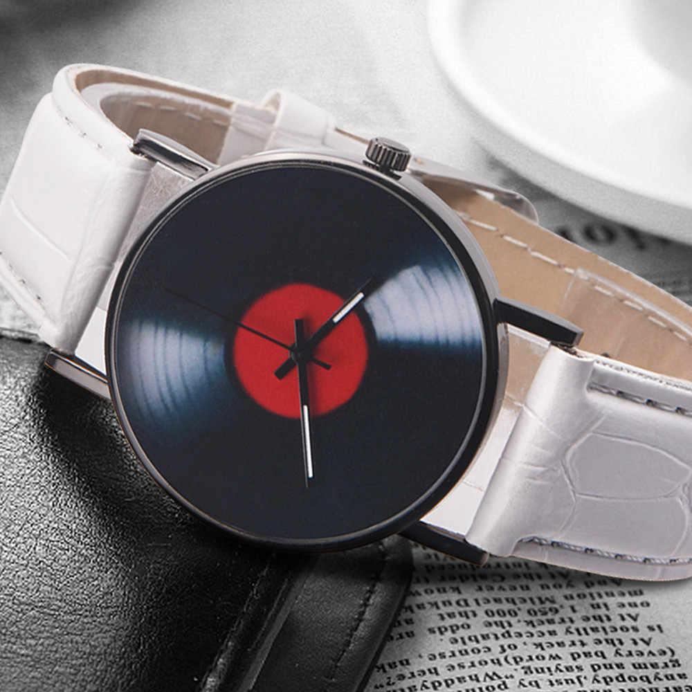 Mode montre pour hommes décontracté Neutre Vinyle Disque Rétro Design Couleur Unie Sangle Analogique Montre À Quartz En Alliage часы мужские 50 *