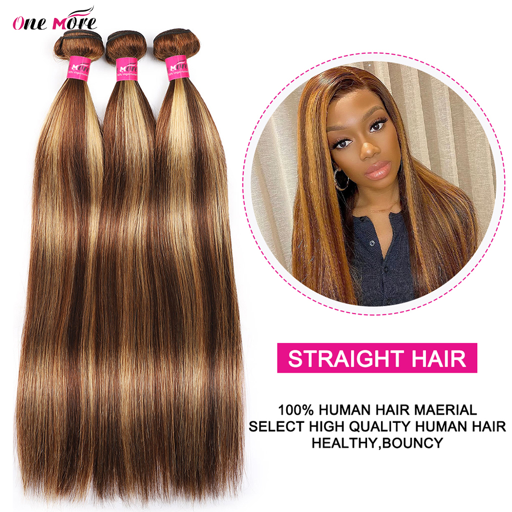 4 27 Highlight Bundles Bone Straight Bundles   Bundles 8-28 Inch  s Double Weft 3