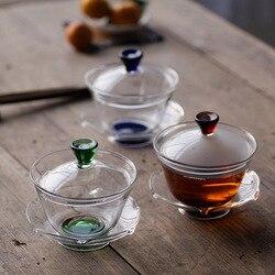 الزجاج المقاوم للحرارة ثلاثة قوة Lidded-طقم شاي الكونغ فو حجم كبير الشاي السلطانية المنزلية شوزهوا الشاي وعاء كوب زهرة