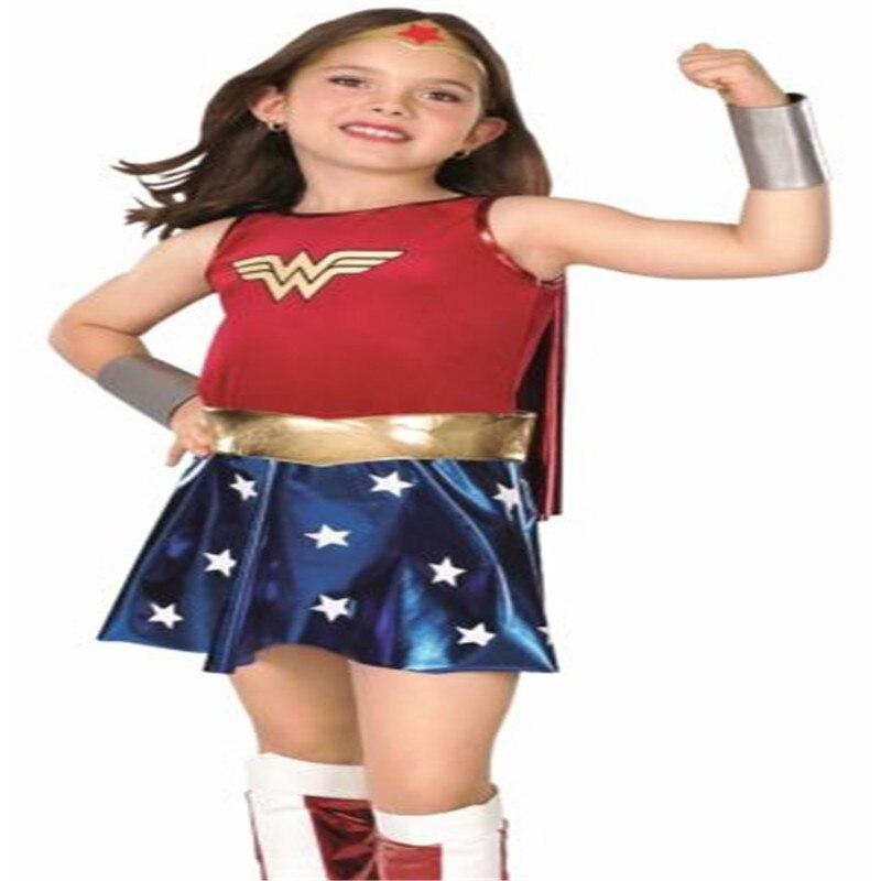 Criança maravilha mulher traje de luxo criança menina super camisa heróis cosplay outfit fantasia vestido trajes de halloween para crianças
