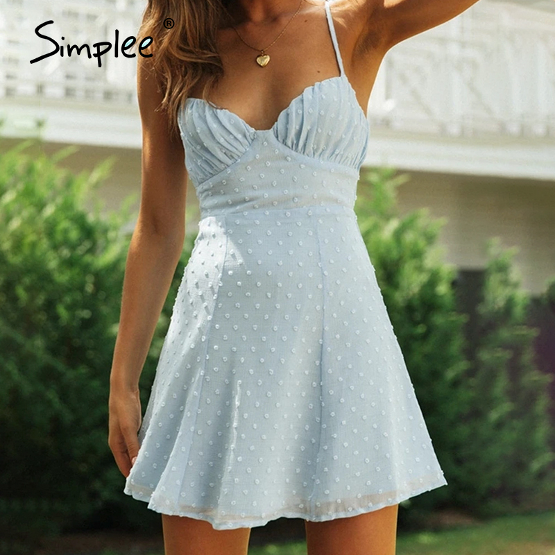 Simplee Bohemia V Neck Elegant Sexy solid Dot Mini Dress Fashion High waist Casual Women Spaghetti Strap short Dress vestidos