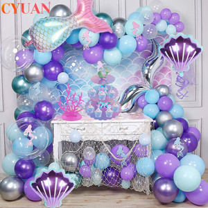 Mermaid Decoration Tail Shell Balloon Baby Shower Girl 1st Birthday Party Favors Little Mermaid Birthday Party Wedding Decor