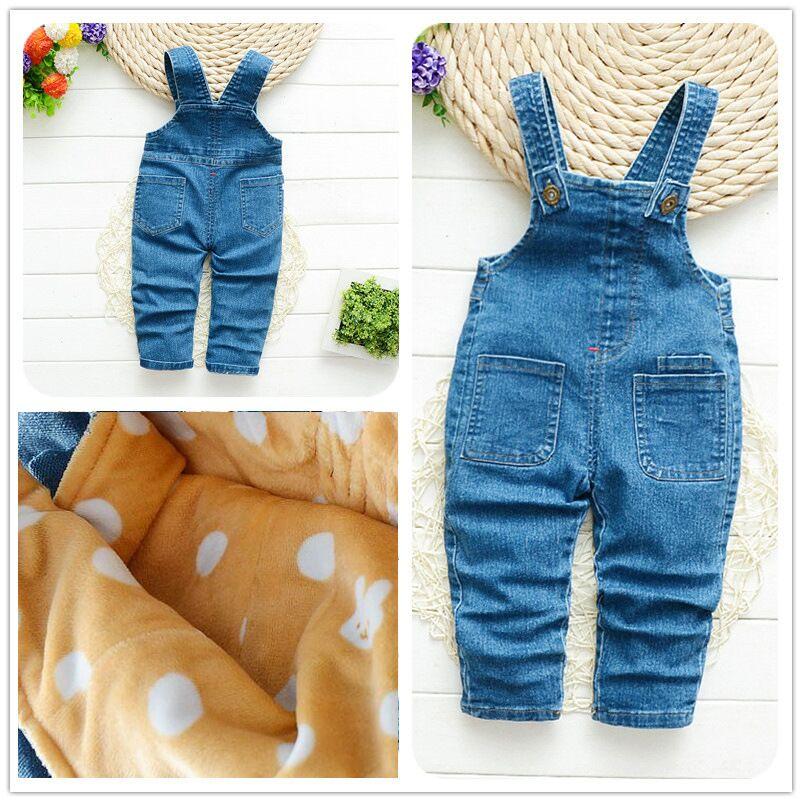 BibiCola Baby Girl Winter Pants Denim Bib Pants For Girl Thick Denim Cartoon Trousers Kids Warm Overalls Infant Tracksuit Pants