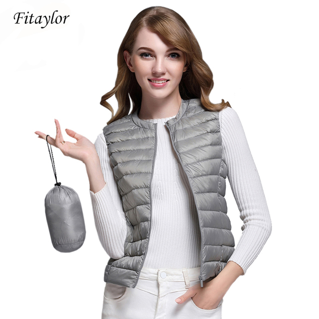 Fitaylor New Women 90% White Duck Down Vest Women Ultra Light Duck Down Vest Jacket Autumn Winter Round Collar Sleeveless Coat 1
