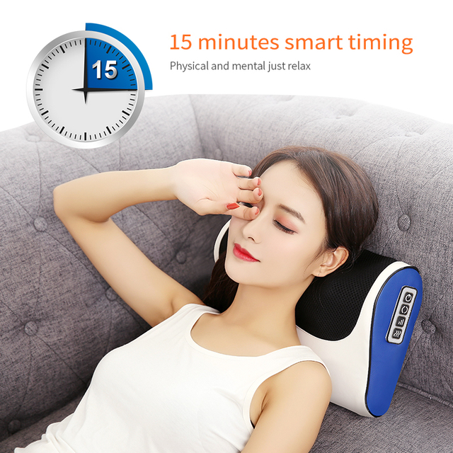 Jinkairui Massage Pillow Shiatsu Heating Shoulder Back Body Multi Function Device Cervical Healthy for Home and Car 3