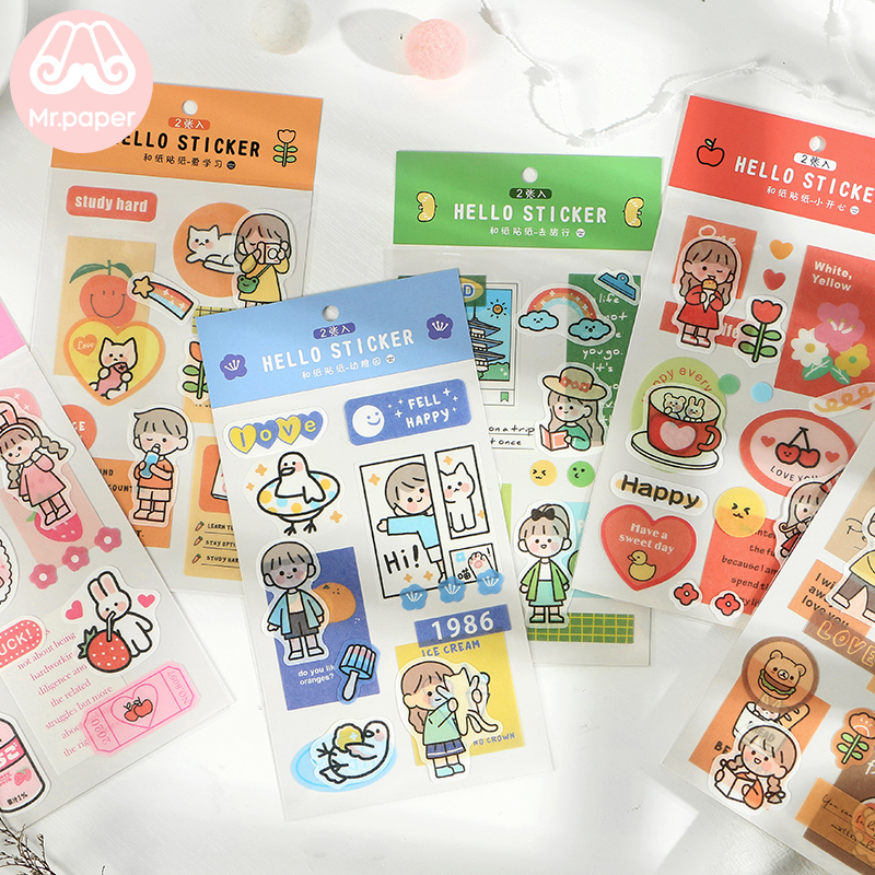 Mr.paper 2Pcs/bag 6 Designs Strawberry Bear Drink Bread  Deco Diary Stickers Scrapbooking Planner Decorative Stationery Stickers