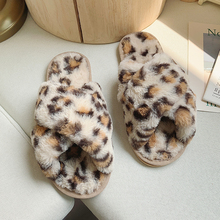 2019 New Winter Home Slippers Women Sexy Leopard Pink Brown Slipper Warm Fluffy Brand Cute Furry